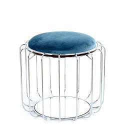 Petrolejový odkládací stolek / puf s konstrukcí ve stříbrné barvě 360 Living Canny, ⌀ 50 cm