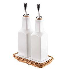 Porcelánová sada lahví na olej a ocet Saleen Korbeige