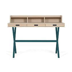 Pracovní stůl z dubového dřeva s petrolejově modrými kovovými nohami HARTÔ Hyppolite, 120x55cm