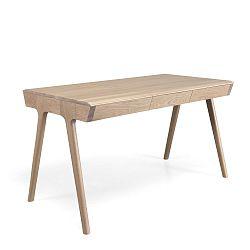Pracovní stůl z dubového dřeva s úložným prostorem Wewood - Portuguese Joinery Metis