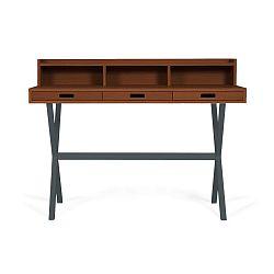 Pracovní stůl z ořechového dřeva s šedými kovovými nohami HARTÔ Hyppolite, 120x55cm