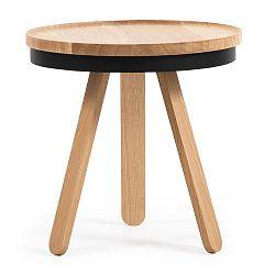 Přírodno-černý odkládací stolek z dubového dřeva s podnosem Woodendot Batea S