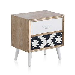 Příruční stolek s černobílými detaily a dvěma šuplíky Geese Rustico Geometric