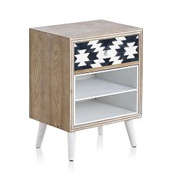 Příruční stolek s černobílými detaily a jedním šuplíkem Geese Rustico Geometric