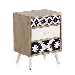 Příruční stolek s černobílými detaily a třemi šuplíky Geese Rustico Geometric
