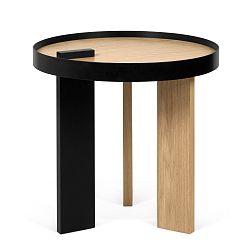 Příruční stolek v dubovém dekoru s černými detaily TemaHome Bruno