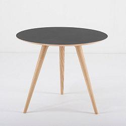 Příruční stolek z dubového dřeva s černou deskou Gazzda Arp, Ø55cm