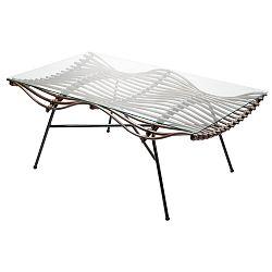Ratanový konferenční stolek se skleněnou deskou RGE Wave, 75 x 126 cm