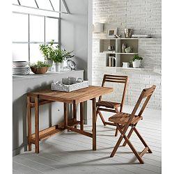 Rozkládací venkovní stolek se 2 židlemi z akáciového dřeva Design Twist Cahul