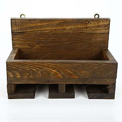 Ručně vyráběný stojan na víno a držák na skleničky z masivního dřeva Catalin Regina, 30x20x14cm