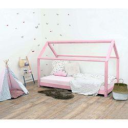 Růžová dětská postel bez bočnic ze smrkového dřeva Benlemi Tery, 90 x 180 cm