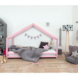Růžová dětská postel z lakovaného smrkového dřeva Benlemi Sidy, 90 x 200 cm