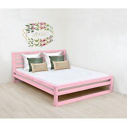 Růžová dřevěná dvoulůžková postel Benlemi DeLuxe, 200x190cm