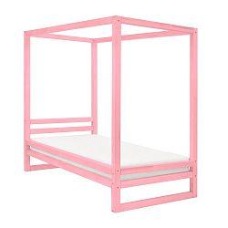 Růžová dřevěná jednolůžková postel Benlemi Baldee, 200x120cm