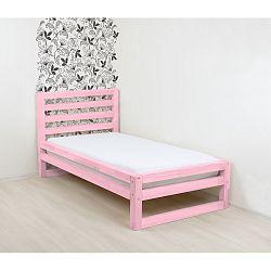 Růžová dřevěná jednolůžková postel Benlemi DeLuxe, 200x80cm