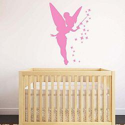 Růžová samolepka Ambiance Fairy, 55 x 85 cm