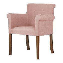 Růžová židle s tmavě hnědými nohami Ted Lapidus Maison Flacon
