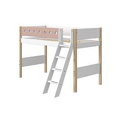 Růžovo-bílá dětská postel s žebříkem a nohami z březového dřeva Flexa White, výška 143 cm