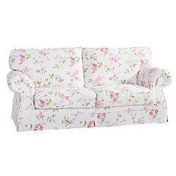 Růžovobílá květovaná trojmístná pohovka Max Winzer Mina