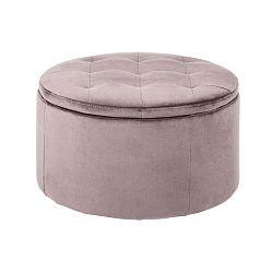 Růžový otoman s úložným prostorem Actona Vic, ⌀ 60 cm