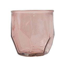 Růžový svícen z recyklovaného skla Mauro Ferretti Stone, ⌀ 9 cm