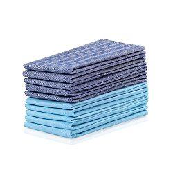 Sada 10 modro-tyrkysových bavlněných utěrek DecoKing Louie, 50 x 70 cm