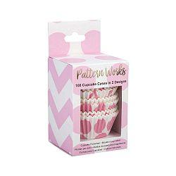 Sada 100 růžových košíčků na muffiny Neviti Pattern Works Zig