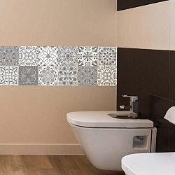 Sada 12 nástěnných samolepek Ambiance Wall Decal Tiles Grey and White Torino, 20 x 20 cm