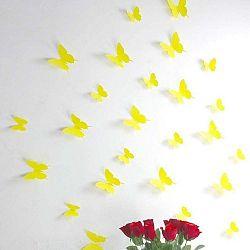 Sada 12 žlutých samolepek s 3D efektem Ambiance Butterflies