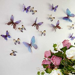 Sada 18 modrých adhezivních 3D samolepek Ambiance Butterflies