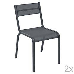 Sada 2 antracitově šedých kovových zahradních židlí Fermob Oléron
