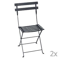 Sada 2 antracitově šedých skládacích zahradních židlí Fermob Bistro
