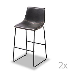 Sada 2 barových černých židlí Knuds Indiana
