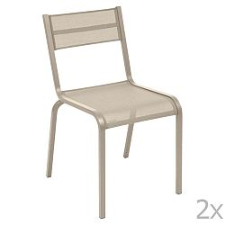 Sada 2 béžových kovových zahradních židlí Fermob Oléron