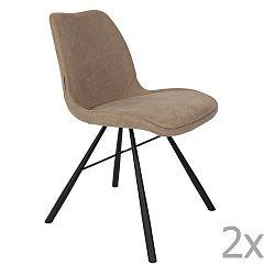 Sada 2 béžových židlí Zuiver Brent