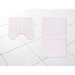 Sada 2 bílorůžových koupelnových předložek Stripy