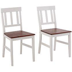 Sada 2 bílých jídelních židlí z masivního borovicového dřeva  Støraa Vinnie