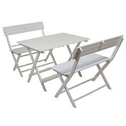 Sada 2 bílých židlí a stolu z topolového dřeva Santiago Pons