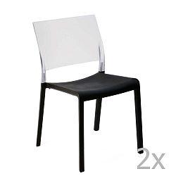 Sada 2 černo-bílých zahradních jídelních židlí Resol Fiona