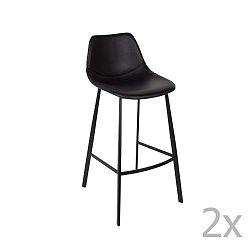 Sada 2 černých barových židlí Dutchbone Franky, výška 106 cm