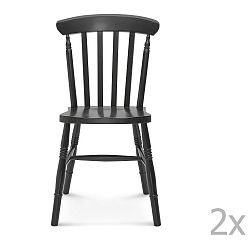 Sada 2 černých dřevěných židlí Fameg Ivar