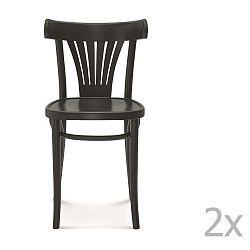 Sada 2 černých dřevěných židlí Fameg Mathias