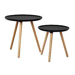 Sada 2 černých dubových konferenčních stolků  Folke Dellingr