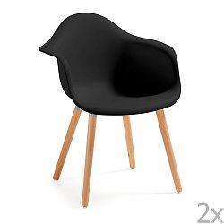 Sada 2 černých jídelních židlí La Forma Kenna