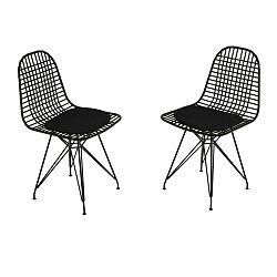 Sada 2 černých kovových židlí Muzzo Kafes