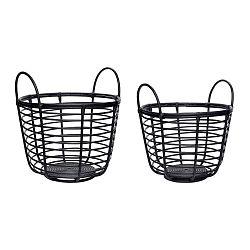 Sada 2 černých ratanových úložných košíků Hübsch Retto Metto
