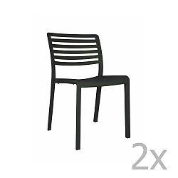 Sada 2 černých zahradních židlí Resol Lama