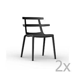 Sada 2 černých zahradních židlí Resol Tokyo