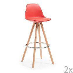 Sada 2 červených barových židlí La Forma Stag