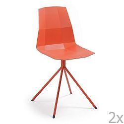 Sada 2 červených jídelních židlí La Forma Pixel